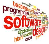Concepto de diseño de software en la nube de etiquetas — Foto de Stock