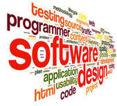 Software design concept in tag cloud — Stock fotografie