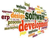 Concepto de desarrollo de software en la nube de etiquetas — Foto de Stock