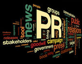 Public relations concept in tag cloud — Stock fotografie