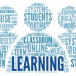 Learning concept in word tag cloud — Stock Photo