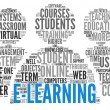 E-learning concept in word tag cloud — Stock Photo