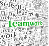 Teamwork concept in word tag cloud — Photo