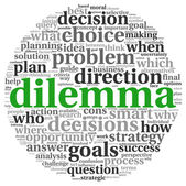 Dilemma concept in tag cloud — Stock Photo