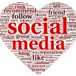 social media love conept in word tag cloud — Stock Photo