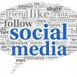 Social media conept in word tag cloud - Stock Photo