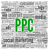 PPC and advertising concept in word tag cloud — Stock Photo