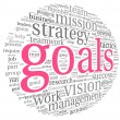 Goals concept in word tag cloud — 图库照片