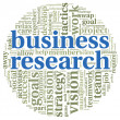 Business research concept in word tag cloud — Stock Photo