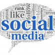 Stock Photo: Social mediconept in word tag cloud