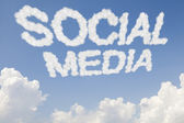 Social media concept text in clouds — Stock Photo