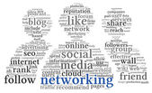 Social networking conept in word tag cloud — Stock Photo