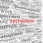 Recruitment concept in word tag cloud — Stock Photo