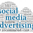 Social media advertising concept in word tag cloud — Stock Photo