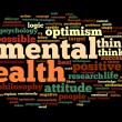 Stock Photo: Mental health in word tag cloud