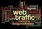 Web traffic concept in tag cloud — Stock Photo
