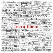 Recruitment concept in word tag cloud — Stockfoto