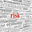 Risk in economy and finance concept in word tag cloud on white b — Foto de Stock