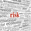 Risk in economy and finance concept in word tag cloud on white b — Stok fotoğraf
