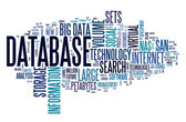 Database concept in word cloud — 图库照片