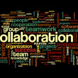 Collaboration concept in word tag cloud — Stock fotografie