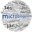 Microblog concept in word tag cloud — Stock Photo