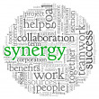 Synergy concept in word tag cloud — Foto Stock