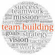 Team building concept in word tag cloud — 图库照片