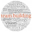 Team building concept in word tag cloud — Stockfoto