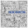 Online marketing concept in word tag cloud — Stock Photo