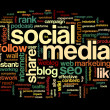 social media conept in word tag cloud — Stock Photo #36065425