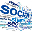 Social mediconept in word tag cloud — Stock Photo #36065441
