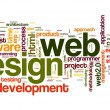 Web design concept in word tag cloud — Stok fotoğraf