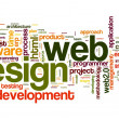 Web design concept in word tag cloud — Stockfoto