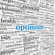Optimism concept in word tag cloud isolated — Stockfoto #40504987