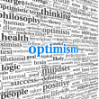 Foto de Stock  : Optimism concept in word tag cloud isolated
