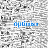 Optimism concept in word tag cloud isolated — Stock Photo