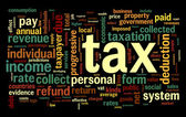Tax concept in word tag cloud — Stok fotoğraf