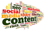 Content conept in word tag cloud — Stock Photo