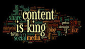 Content is king conept in word tag cloud — Stock Photo