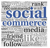 Social media commerce conept in word tag cloud — Stock Photo