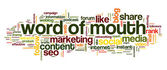 Word of mouth in word tag cloud — ストック写真