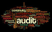 Audit and compliance  in word tag cloud — Stock Photo