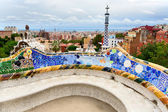 The bench by Gaudi in Parc Guell. Barcelona. — Stock Photo