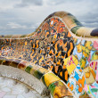Detail of the bench by Gaudi in Parc Guell. - Stock Photo