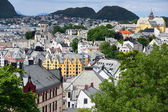 Art Nouveau architecture in Alesund city center. Norway. — Stock Photo