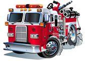 Vector cartoon firetruck — Stock Vector