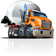 Stock Vector: Cartoon Mixer Truck one click repaint option