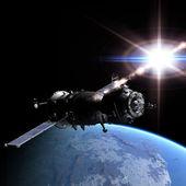 Spaceship at the Earth orbit — Stock Photo