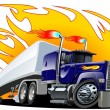 Vector Cartoon Semi Truck. One-click repaint - Stock Vector